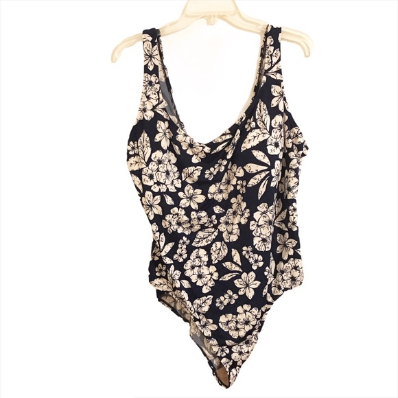 Cherokee One Piece Blue White Floral Swimsuit